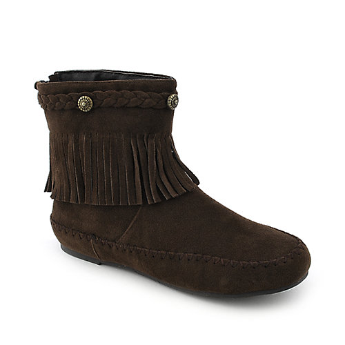 Bamboo Friends-10 womens brown flat ankle boot