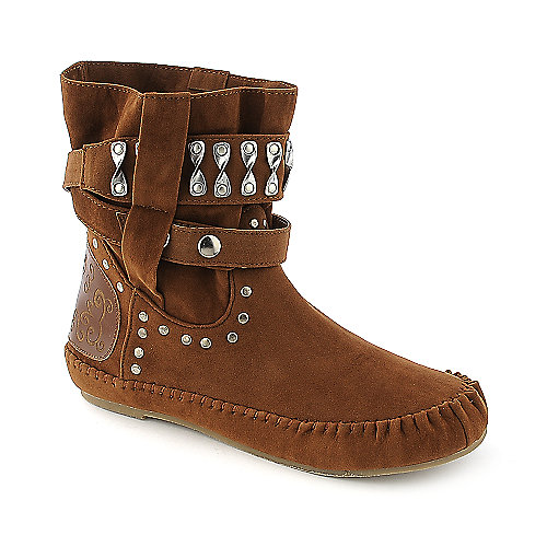 Bamboo Friends-23 womens tan flat mid calf boot