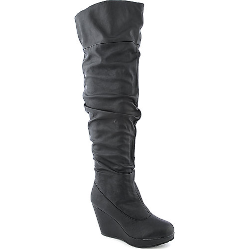 Bamboo Hush 07 thigh high wedged platform boot