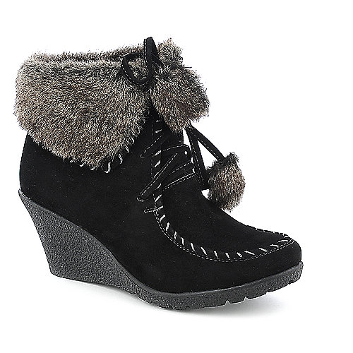 Bamboo Marlyn-13 womens fur ankle wedged boot