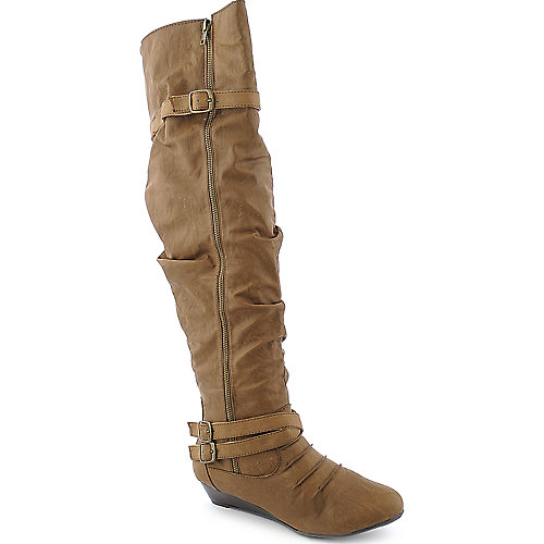 Bamboo Tamara-50 womens tan knee high low heel boot
