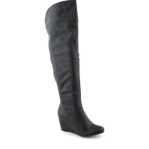 Bamboo Tarrin-01 womens knee high wedged boot