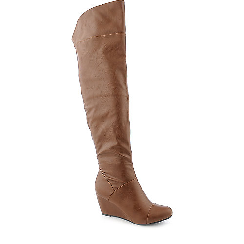 Bamboo Tarrin-01 womens chestnut knee high wedged boot