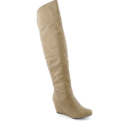 Bamboo Tarrin-01 womens taupe knee high wedged boot