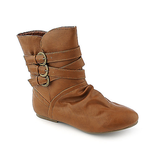 Bamboo Womens Tiktok-26 chestnut flat ankle boot