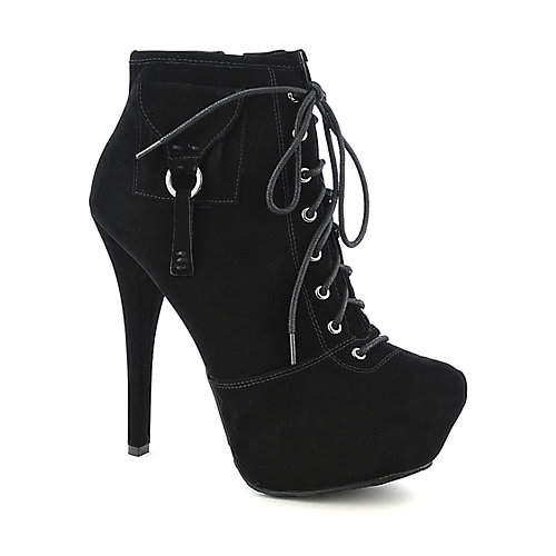 Dollhouse Amica womens black platform high heel ankle boot