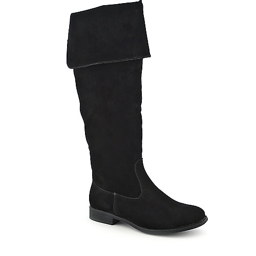Dollhouse Moscow womens black knee high western low heel riding boot