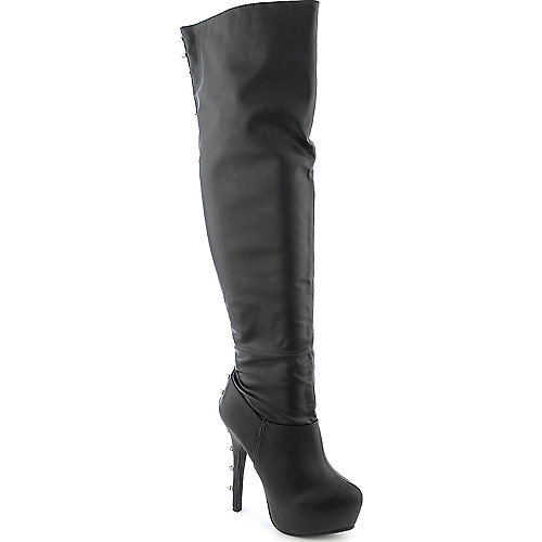 Dollhouse Queen womens faux suede thigh high platform high heel boot