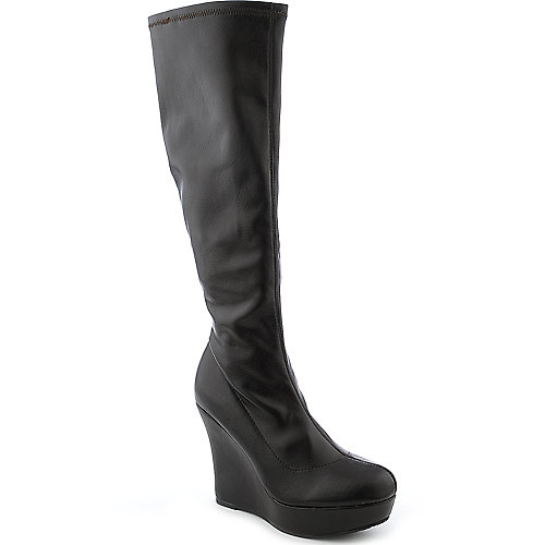 Bamboo Ceasar-47 womens knee-high platform wedge boot
