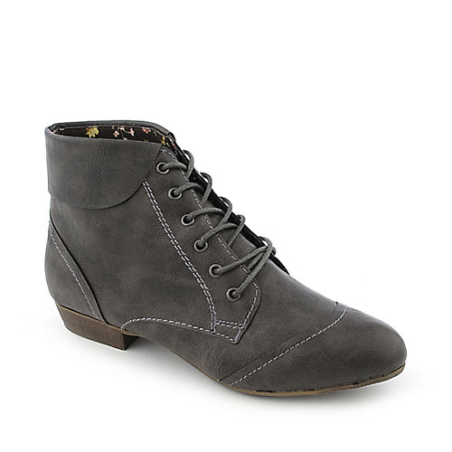 Bamboo Picnic-02 womens grey low heel ankle boot