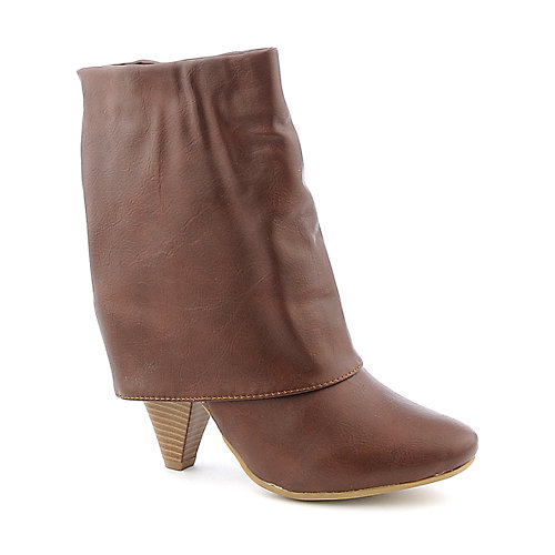 Bamboo Womens Trinity-01 brown low heel fold over boot