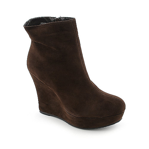 Bamboo Ceasar-01N womens platform ankle wedged boot