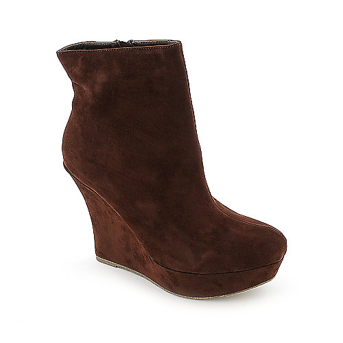 Bamboo Ceasar-01R womens bronze platform wedged ankle boot