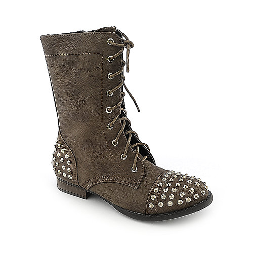 Bamboo Rascal-01 womens low heel military mid calf boot