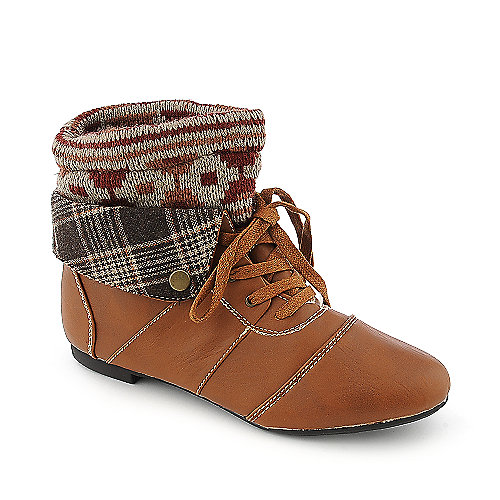 Bamboo Tiara-18 chestnut flat knit ankle boot