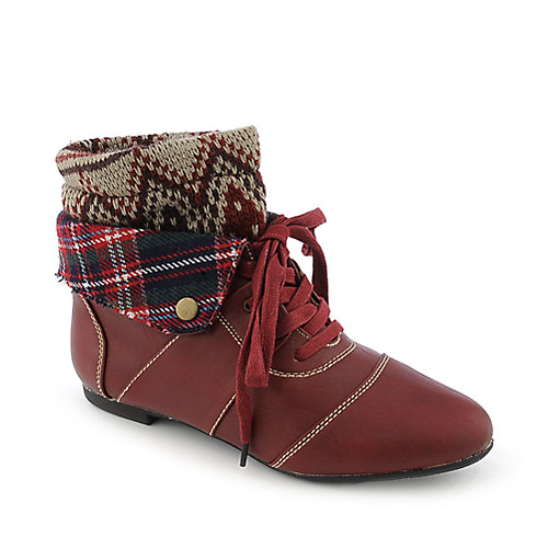 Bamboo Tiara-18 flat knit ankle boot