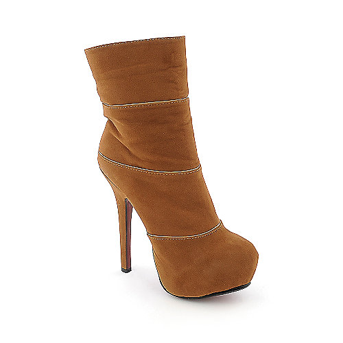 Anne Michelle Oscar-05 womens chestnut platform high heel ankle boot
