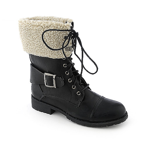Nature Breeze Lug-21 womens mid-calf low heel fur lined boot