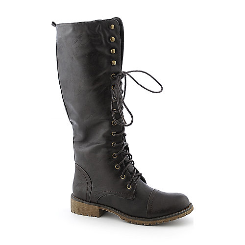 Nature Breeze Lug11-H knee-high low heel military/combat boot