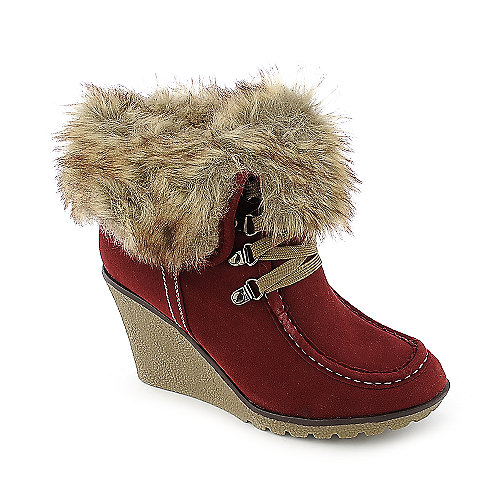 Nature Breeze Kelsi-01 womens fur lined wedge ankle boot