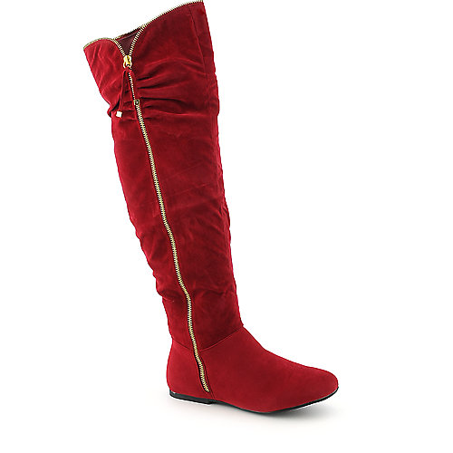 Envy womens red flat thigh high boot