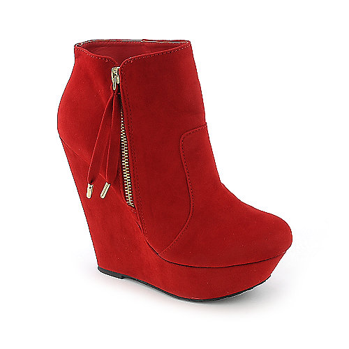 Dollhouse Villain womens red platform wedged ankle boot