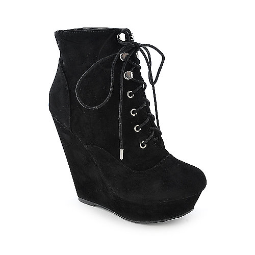 Dollhouse Star womens platform wedged ankle boot