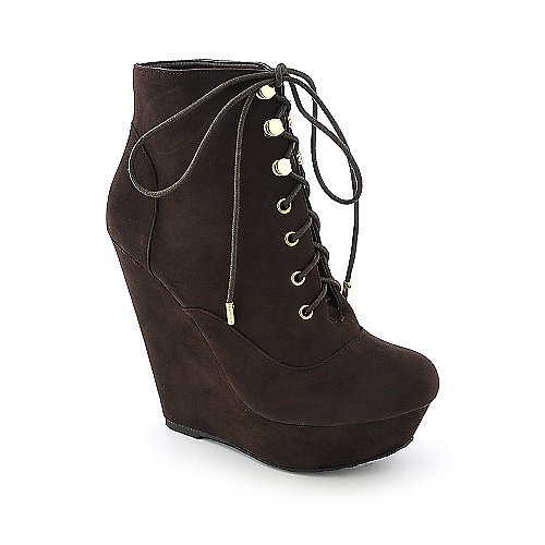 Dollhouse Star womens brown platform wedged ankle boot
