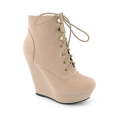 Dollhouse Star womens nude platform wedged ankle boot