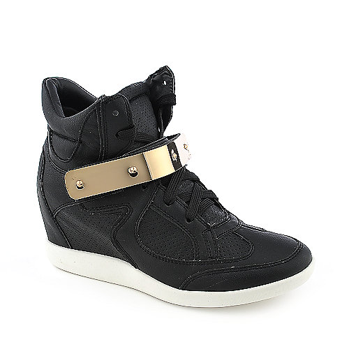 Glaze Micha-2 womens black casual sneaker wedge shoe