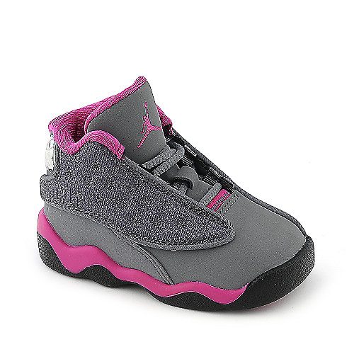 0ee17acc9ce3be Jordan 13 Retro (TD) toddler grey and pink athletic basketball sneaker