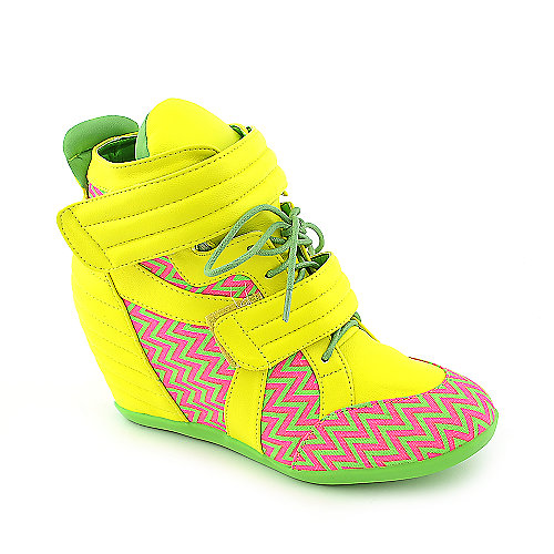Privileged Electric neon colored casual sneaker wedge shoe