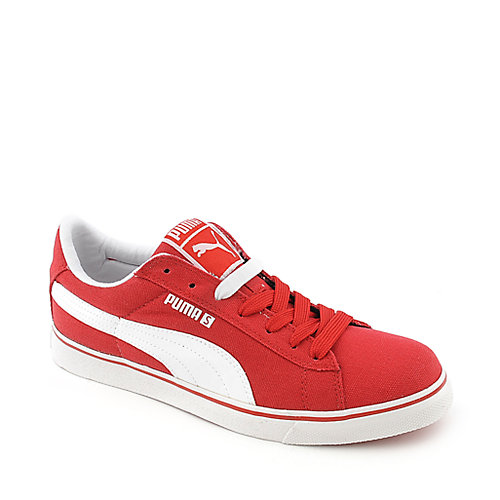 Puma S Vulc CVS mens red casual lace up sneaker