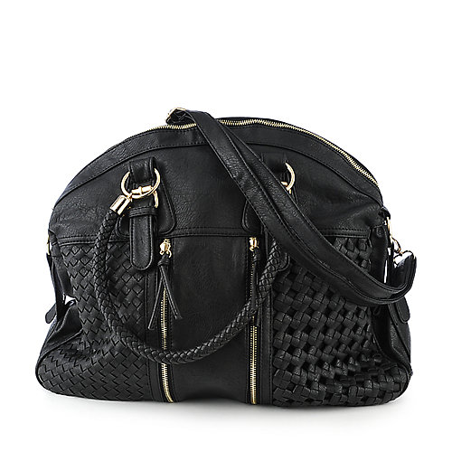 Yoki Black Woven Satchel accessories handbags satchels
