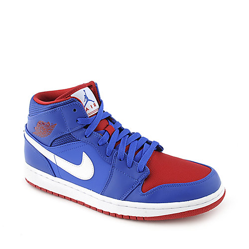 Air Jordan 1 Mid mens royal blue and red athletic basketball sneakers