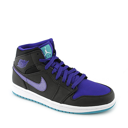 Air Jordan 1 Mid mens black and purple athletic basketball sneaker