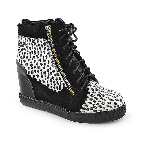 Shoe Republica LA Zoo womens casual animal print sneaker wedge shoe