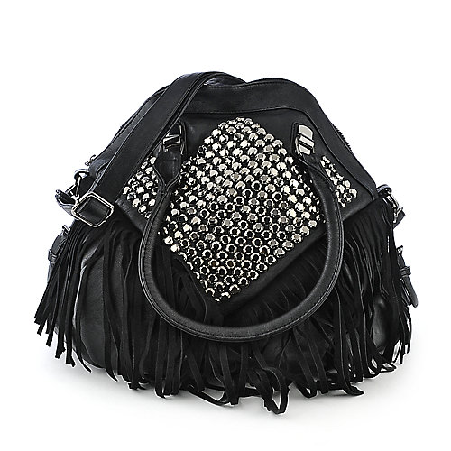 NuG Studded Fringe Bag black shoulder bag