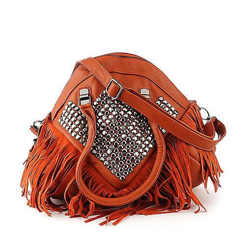 NuG Studded Fringe Bag brick shoulder bag