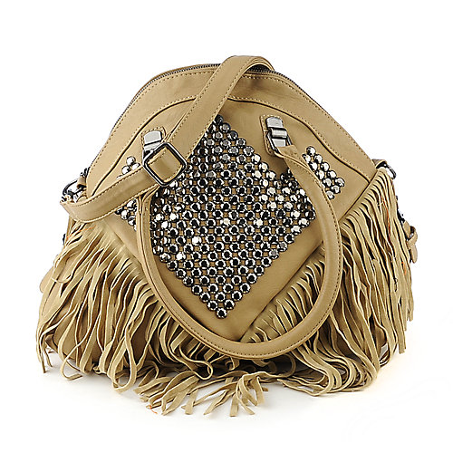 NuG Studded Fringe Bag tan shoulder bag