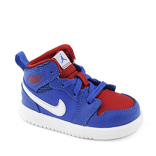 Jordan 1 Mid Flex(TD) toddler royal blue and red athletic sneaker
