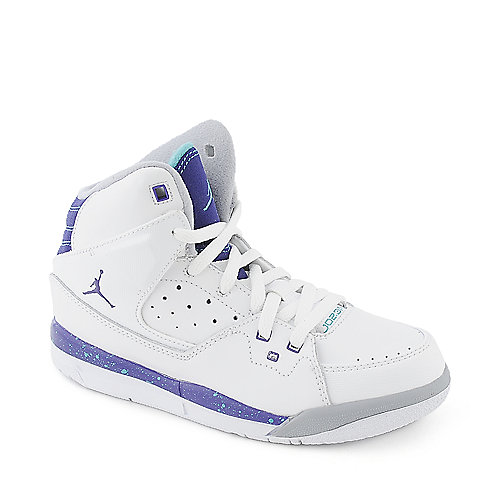 Jordan SC-1 (PS) youth white and purple athletic basketball sneaker