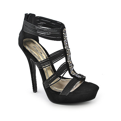 Anne Michelle Socialite-64 black platform high heel evening dress shoe