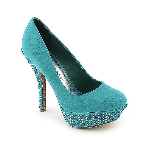 Society 86 Dash-33 aqua blue platform high heel pump dress shoe
