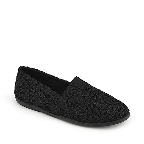 Shiekh Folea-S black casual flat slip on shoe