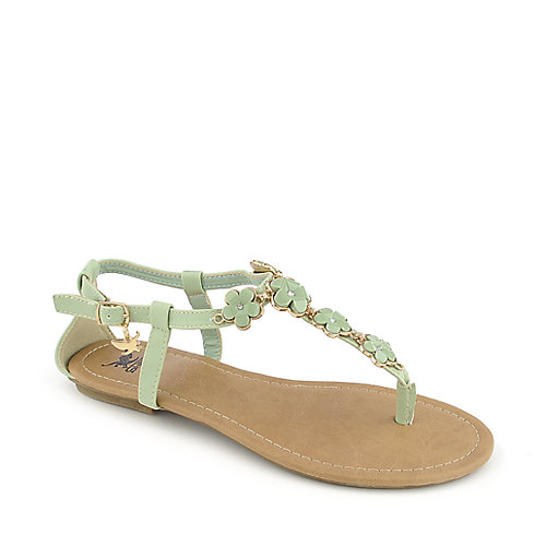 Shiekh Medina S Mint Green Flat Thong Sandal