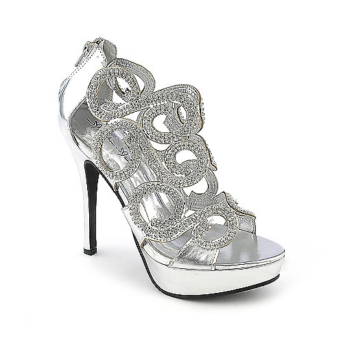 Marichi Mani Lavena-02 silver platform high heel evening dress shoes