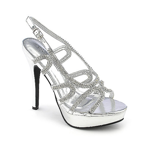 Marichi Mani Lavena-01 silver platform slingback high heel evening dress shoes