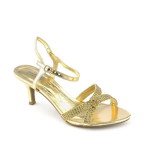 Sweet Seventeen Janee-05 gold evening low heel dress shoe