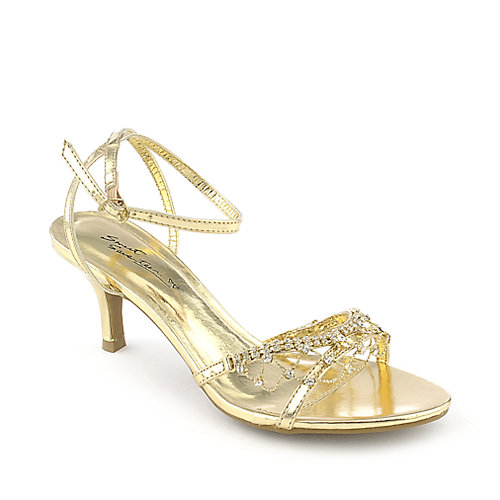 Seventeen Janne-08 gold low heel evening dress shoe